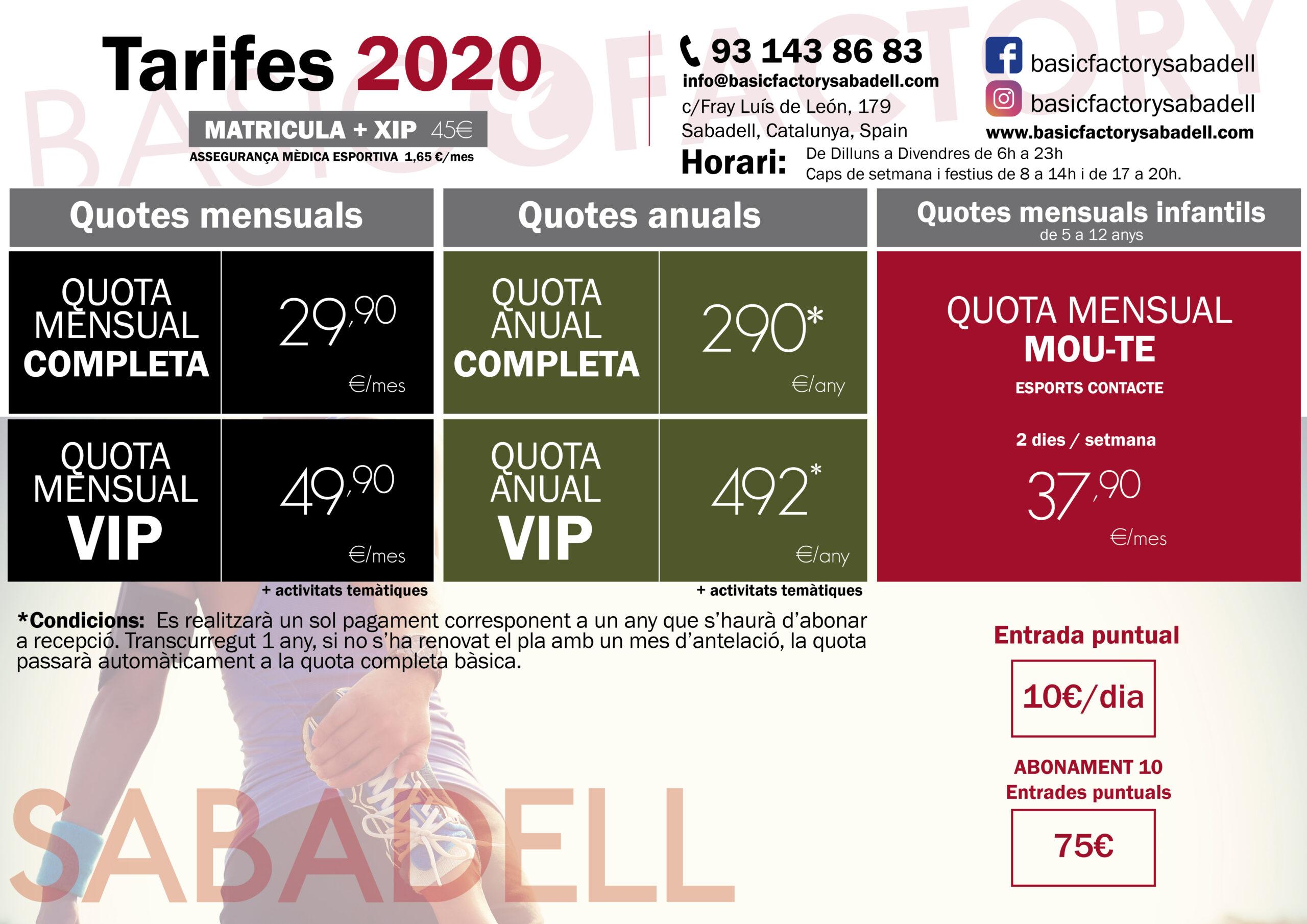 Tarifes Basic Factory Sabadell